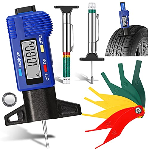 4 Pieces Tyre Tread Depth Gauge LCD Digital Tire Tread Depth Gauge with Inch and MM Conversion Color Coded Tire Tread Depth Measurement Tool Brake Lining Thickness Gauge for Car