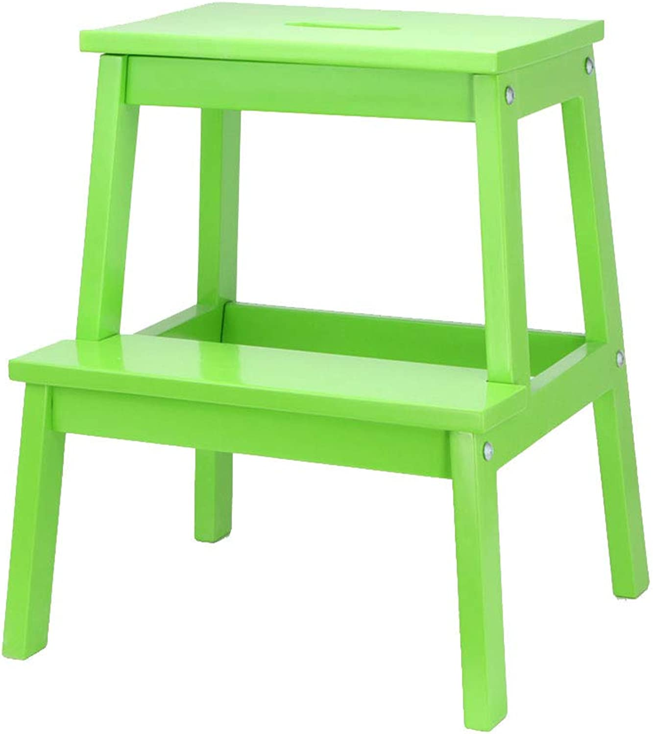 Ladder Step Stool, Solid Wood 2 Steps Stool Ladder Dual Purpose Hollow Portable Handle Household Ascend Change shoes 10 colors (color   Green)