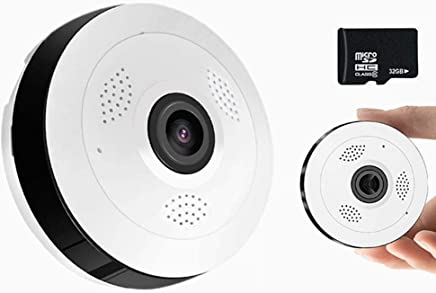 STRIDCJX Telecamera panoramica CCTV grandangolare panoramica a 360 Gradi, Telecamera IP Intelligente Wireless 1080P HD, Telecamera Fisheye Home Security WiFi,32G,960P - Trova i prezzi più bassi