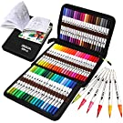 ZSCM Coloring Brush Pens Markers Set, 60 Colors Dual Tips Fine Tip Markers Set with Coloring Book, for Kids Drawing, Adult Coloring Books, Sketching Bullet Journal Planner School Supplies Child Gifts