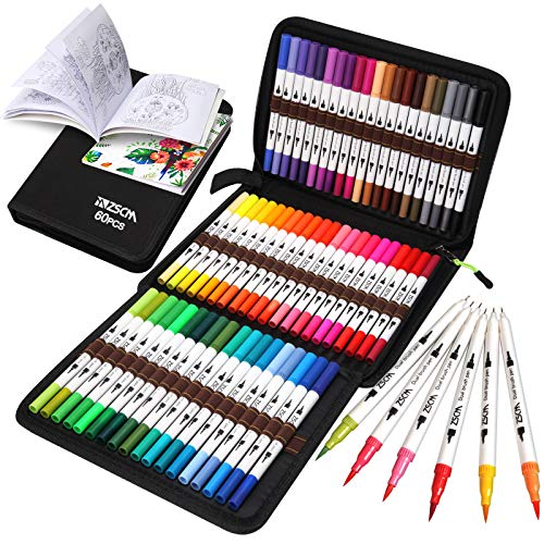 ZSCM Coloring Art Markers Set, 60 Colors Dual Tips Fine Point Marker Fineliners Brush Pens with Coloring Book, for Easter Cards, Kids Drawing, Adult Coloring Books, Sketching Bullet Journal Planner