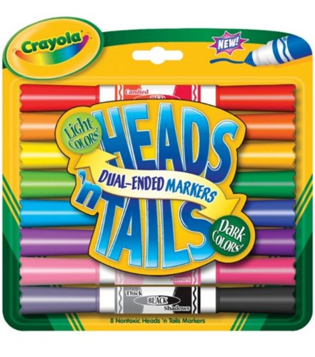 Crayola Heads 'n Tails Dual-Ended Markers 8/Pkg-Dark & Light Colors