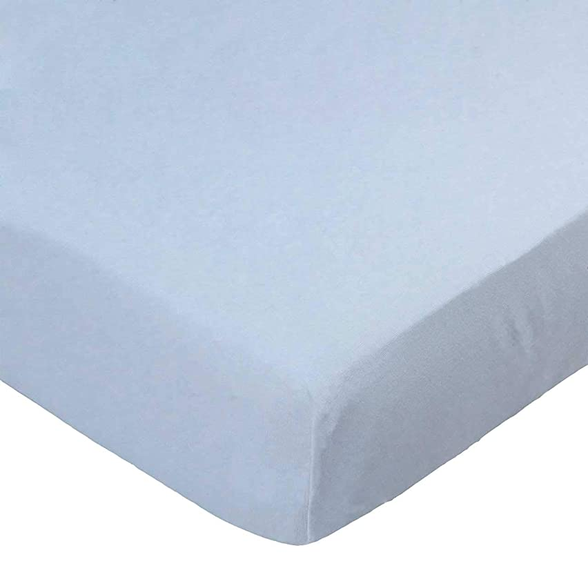 SheetWorld 100% Cotton Jersey Fitted Crib Toddler Sheet 28 x 52, Organic Baby Blue, Made in USA