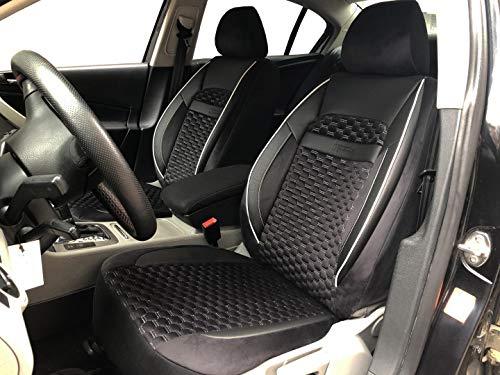 Sitzbezüge k-maniac für Audi A4 B8 Avant | Universal schwarz-Weiss | Autositzbezüge Set Vordersitze | Autozubehör Innenraum | Auto Zubehör Kunstleder | V1808448 | Kfz Tuning | Sitzbezug | Sitzschoner