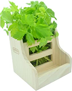 WYOK Hay Feeder Less Wasted, Wooden Hay Rack Manger for Rabbits, Guinea Pigs (7'' x 6.4'' x5.9'')