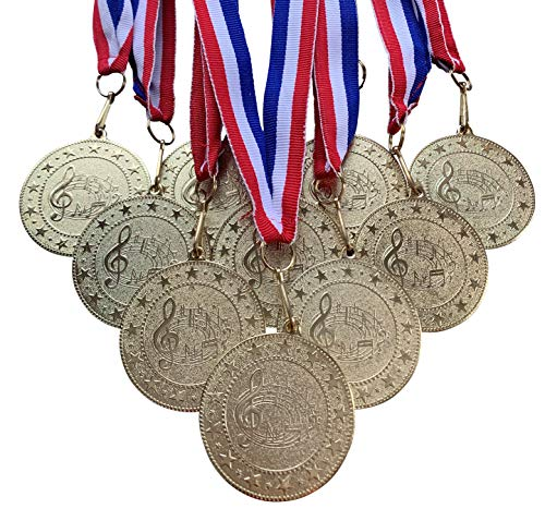 10 Pack of Gold Music Medals Trophy Award with Neck Ribbons