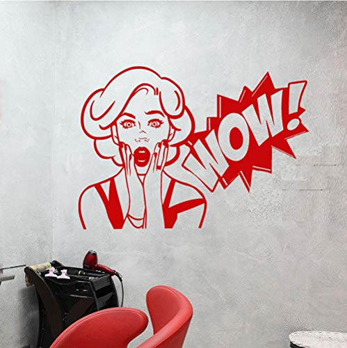 GVFTG Comic Meisje Wow Word Meisje Gezicht Vinyl Muursticker Home Decor DIY Art Mural Wallpaper 58X82cm