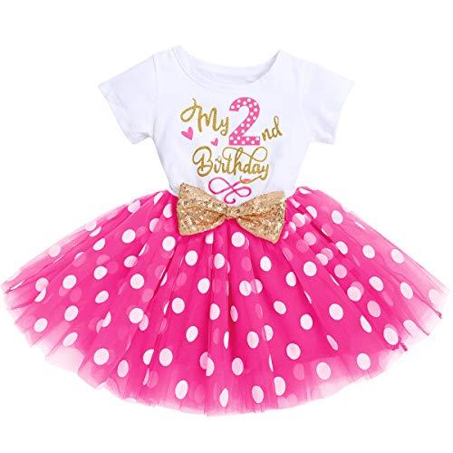 FYMNSI Vestido de manga corta para bebé, niña, de algodón, tutú de tul, línea A, vestido de princesa, vestido de fiesta para sesión de fotos. Rosa Mi segundo cumpleaños (vestido solo) 2 Años