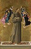 JH Lacrocon Sandro Botticelli - San Francisco Asís Ángeles Reproducción Cuadro sobre Lienzo Enrollado 55X90 cm - Pinturas Cristiano Impresións Decoración Muro