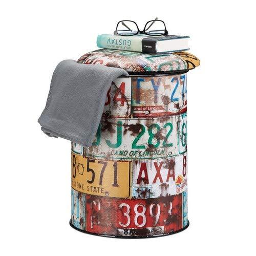 Relaxdays Sitztonne Vintage, bunter Sitzhocker mit Motiv, Autoschilder Collage, Aufbewahrungsbox HxD: 44 x 32 cm, bunt
