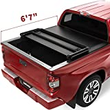 oEdRo Upgraded Soft Tri-Fold Truck Bed Tonneau Cover Compatible with 2014-2021 Toyota Tundra with 6.6 Feet Bed, Fleetside (Incl. Utility Track Bracket Kit)