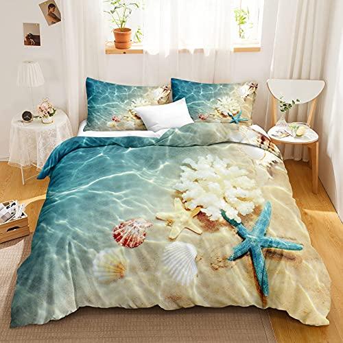 Bedbay Ocean Duvet Cover Set Coastal Beach Bedding Set Ocean Beach Starfish Pattern Turquoise Bedding Coastal Comforter Cover Twin 1 Duvet Cover 1 Pillowcases (Beach, Twin)
