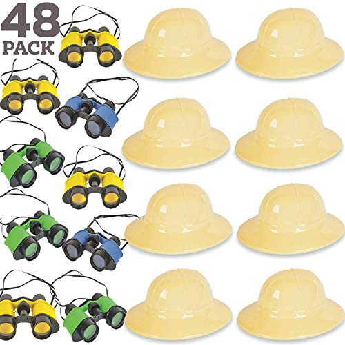 48 Piece Safari Favors & Prizes - 24 Plastic Safari Hats, 24 Toy Binoculars. Great for Animal Lovers, Scouts, Explorer, Camping, Hikes, Outdoor and Adventure Theme Parties
