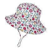 Sombrero de Sol para Bebé Niña Ajustable Gorro Verano de Pescador para Niños ala Ancha Sombrero Bob Protección Solar UPF 50 para Exteriores Natación Playa Piscina (Flor)