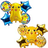 Pikachu Fiesta Decoración para Niños y Niñas Cumpleaños Fiesta,3D Pikachu Globo de Papel de Aluminio, Globo de Helio Celebración de Días Festivos Globos para Fiesta de Decoración (Amarillo y Azul)