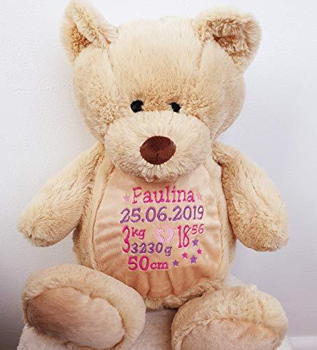 Peluche ours personnalisé brodé du prénom de bébé, baptême, fêtes, Noël, personnalisé, doudou prénom