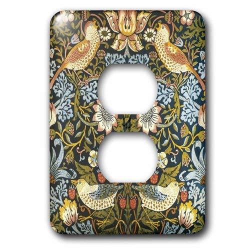 Sola pared dúplex receptáculo placa de pared de salida William Morris fresa ladrón patrón 2 enchufe cubierta