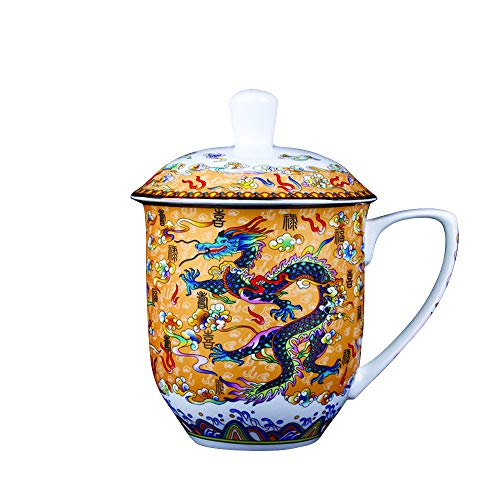 ufengke Large Ceramic Mug Cup with Chinese Dragon,Bone China Afternoon Tea Cup Mugs,Gift for Home,Office, 850ml