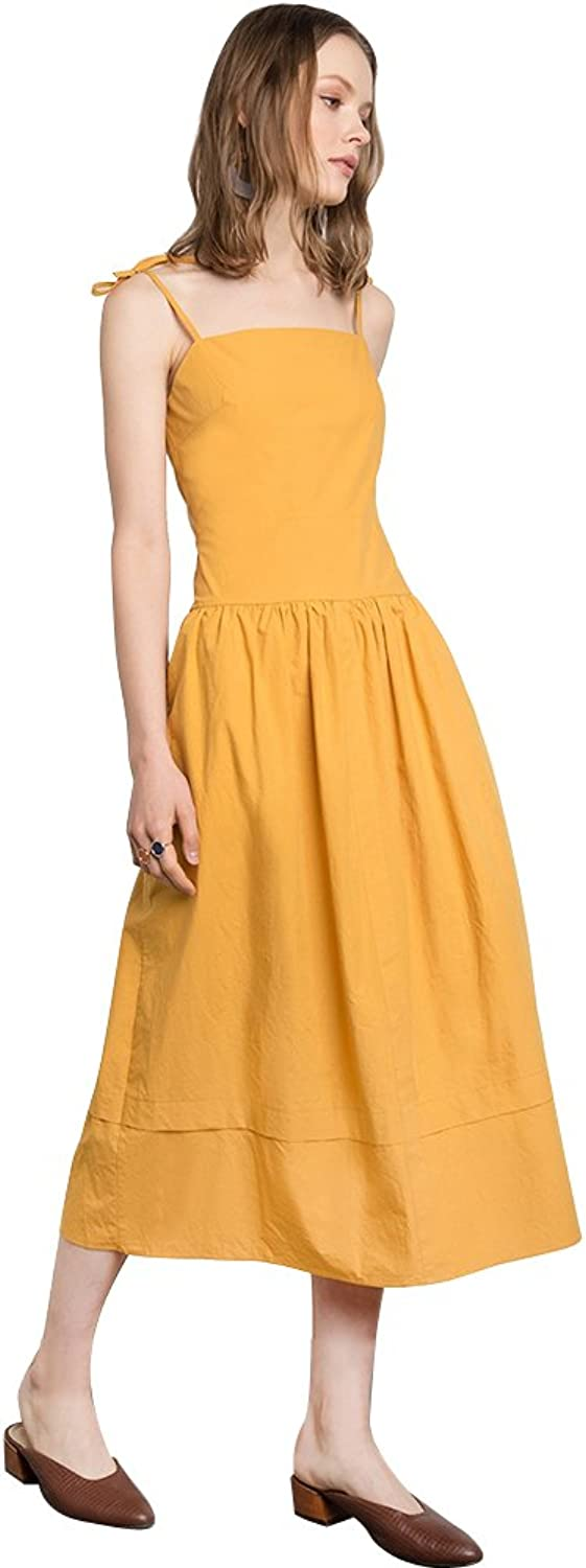 Flowertree Women's Cotton Spaghetti Strap Vintage Drop Waist Dress Yellow