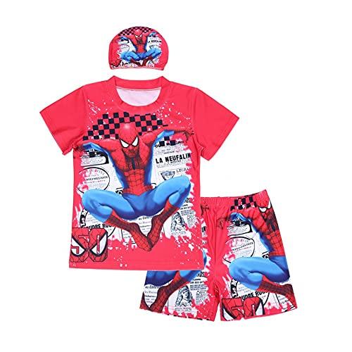 MYYLY Été Enfants Spiderman Maillot Bain Cosplay Costume Dessin Animé Pièce Natation Guard Combinaison Plongée Séchage Rapide Respirant Vacances avec Casquette,Red-XL Kids (130~140CM)