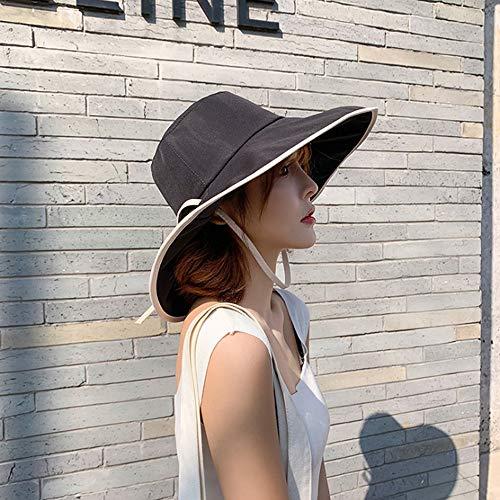 ZLSANVD Cubo Sombrero de Sol for - Cap Pescador UPF 50 Protección UV Poco voluminoso Verano de Sombrero de la Pesca del Pescador Safari Beach & Navegación Protección UV (Color : Black)
