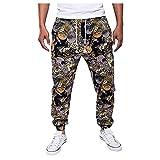 WOOGOD Pantalones de deporte para hombre, estilo étnico, con cordones, estampados, ligeros, transpirables, de secado rápido, Negro , XL