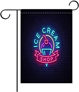 Garden Flag Double Sided Decorative Flags Ice cream shop neon sign Ice cream shop icon in neon style symbol light banner bright night advertising ice cream Best for Party Yard and Home Outdoor Decor