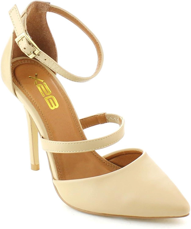 X2B Static Footwear Patty-2 Women's Pointed Toe Closed Back Stiletto Heel Ankle Strap Dress Pumps