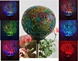 Solar Colorful Ball Lamp , Color Changing LED Mosaic Crackle Glass Ball Decorative Garden Yard Light