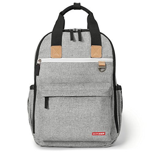 Skip Hop Diaper Bag Backpack with Matching Changing Pad, Duo Signature, Grey Melange
