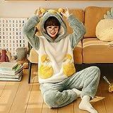 GenericBrands Pijama PJ Set para Mujer Franela cálida Ropa de Dormir para Mujer Ropa de Dormir Ropa de Dormir Traje de pantalón térmico se Puede Usar en el Exterior -M_40-52KG