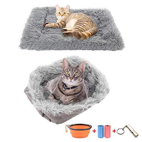 Katzenkissen Hundebett 2 in 1 plüsch hundebett kuschelbett für katzen waschbar Decken für Hunde Betten &Sofas für Katzen Bequem und weich Flauschig Welpenkorb Katzen Bettmatten-Geben Haustiergeschenke