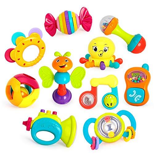 Lihgfw Baby Rasseln 0-1 Jahre alte Babyhandglocke des Babys for Vier Monate alte Babyspielzeug 10 Kombinationen, niedliche Formen, umweltfreundliche Materialien (Color : Multi-Colored)