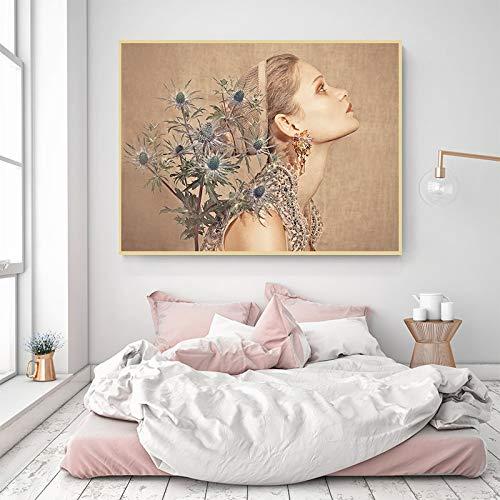hetingyue Frameloze etherische lieve canvas model mode foto en druk pop muurkunst studio wooncultuur