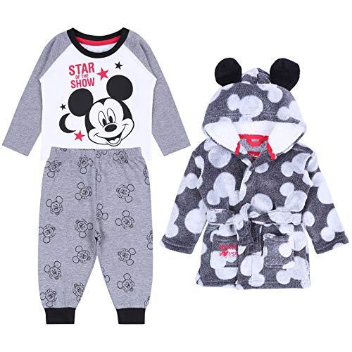Pijama + Bata Gris Mickey Mouse Disney 6-9 Meses