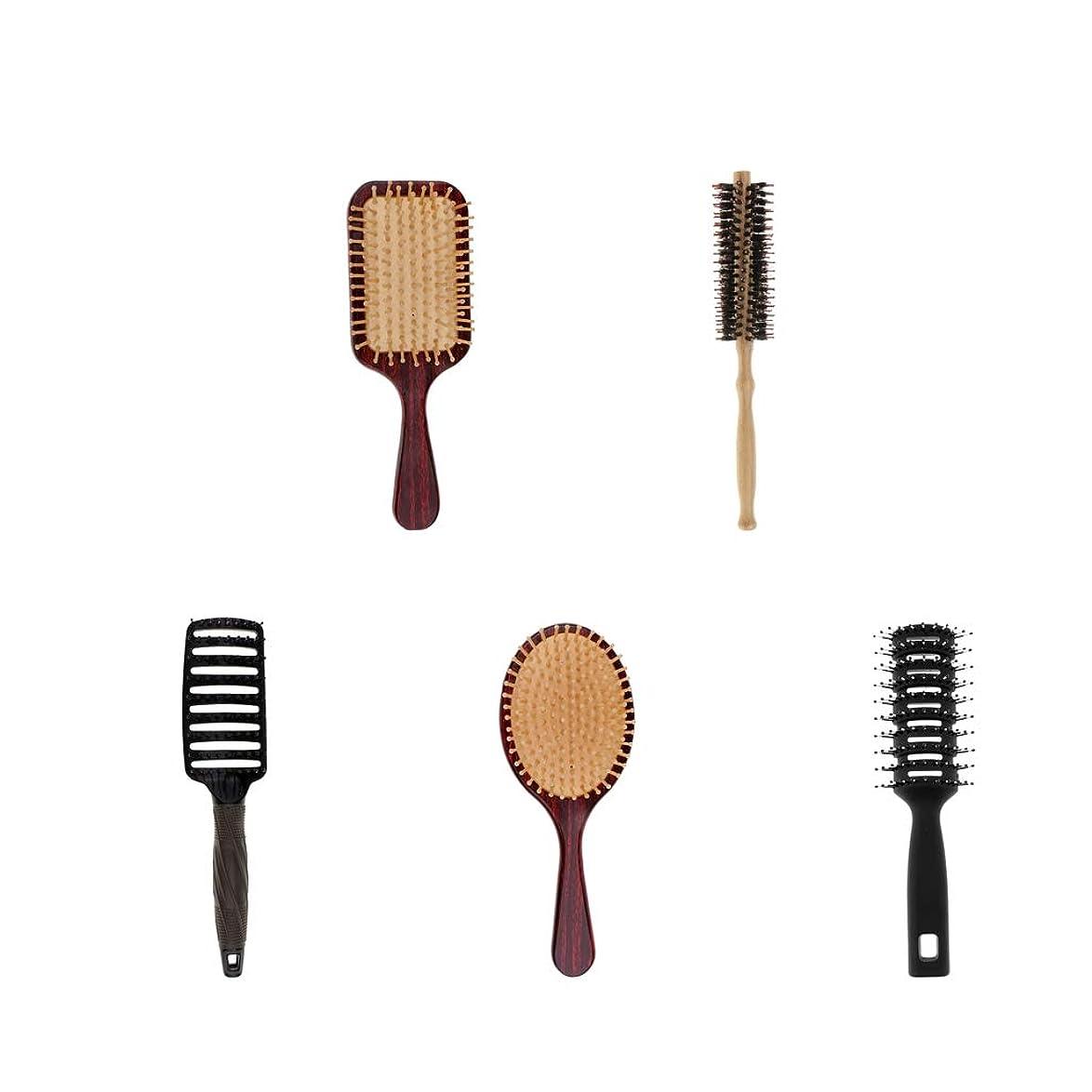 アナニバー通りきつくF Fityle 5個 髪のマッサージブラシ 木製櫛 剛毛 クッション 頭皮マッサージ ヘアケア