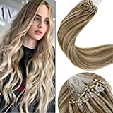 LaaVoo 14 Pouces Micro Ring Extension a Froid Cheveux Naturel #P8/24 Brun Clair Highlight Blond Clair Prebonded Hair Extensions Micro Loops 50G/50Meches