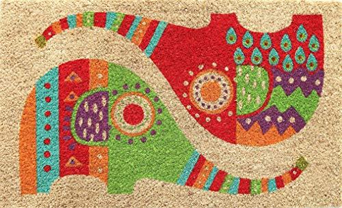 Coco&Coir Everything in a nutshell Premium kokos Fußmatte | Kokosnussmatte mit rutschfestem PVC | Fußwischer für den Eingangsbereich | für den Außen- und Innenbereich | 45 x 75 cm | Elefantentwurf