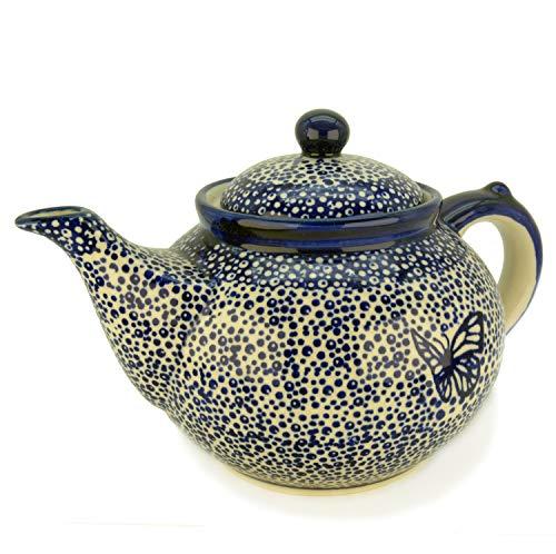 Bunzlauer Teekanne für ca 6 Tassen oder 1,25 Liter (Dekor Blauer Falter)