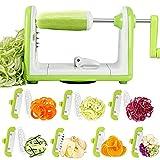 Sedhoom Espiralizador de Vegetales Cortador de Verduras de 7 Cuchillas, Doblado Espiralizador de Verduras en Espiral, Juliana, Espaguetis, Tallarines, Cintas o Fideos
