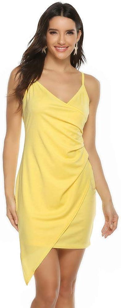 SANCABA Women's Sexy Strapless Strap Ruched Side Asymmetrical V-Neck Bodycon Cami Dress