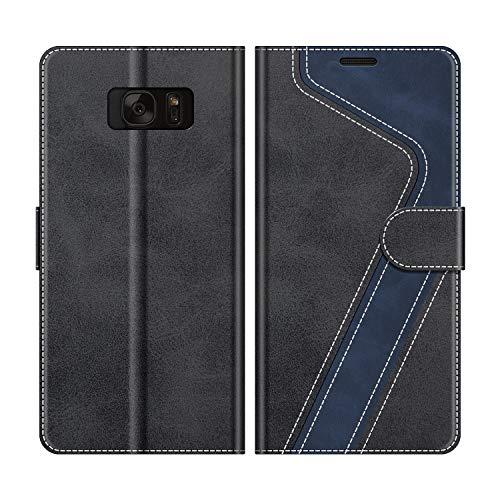 MOBESV Handyhülle für Samsung Galaxy S7 Hülle Leder, Samsung Galaxy S7 Klapphülle Handytasche Case für Samsung Galaxy S7 Handy Hüllen, Modisch Schwarz