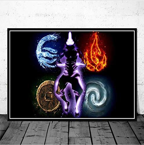 tgbhujk Avatar Der Letzte Airbender Aang Kampf Anime Poster Wandkunst Bild Poster und Drucke Leinwand Gemälde für Room Home Decor 50 * 75 cm Ohne Rahmen