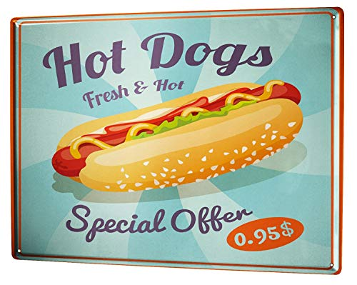 LEotiE SINCE 2004 Blechschild Vintage Retro Metallschild Wandschild Blech Poster Essen Restaurant Hot Dogs