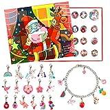 vamei Calendario de Adviento niñas Pulsera Niñas DIY Collar Pulsera Unicornio Regalos de cumpleaños Regalos Sorpresa (Incluye Pulsera y Collar.) (A)