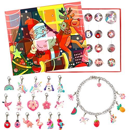 vamei Calendriers de l'Avent Filles DIY Bracelet Collier Filles Accessoires de Bijoux pour l'hiver Licorne Anniversaire Cadeaux Surprise Filles (Comprend Bracelet et Collier) (A)