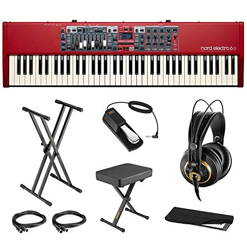 Nord Electro 6D 73-Note Semi-Weighted Keyboard Bundle with AKG K240 Headphone, Keyboard Stand, Piano Bench, Sustain Pedal, 2x MIDI Cable & Cover