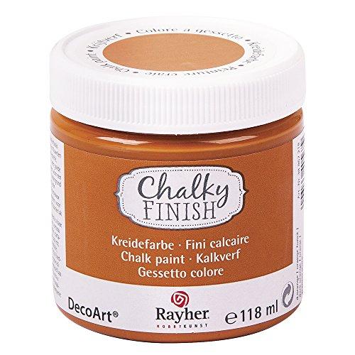 Rayher 38867218 Chalky Finish auf Wasser-Basis, Kreide-Farbe für Shabby-Chic-, Vintage- und Landhaus-Stil-Looks, 118 ml, dunkel orange