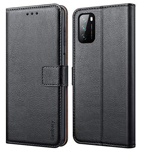 Ganbary Handyhülle für Xiaomi Poco M3 Hülle, Premium Leder Tasche Flipcase [Kartenschlitzen] [Magnetverschluss] [Standfunktion] kompatibel mit Xiaomi Poco M3 Schutzhülle, Schwarz
