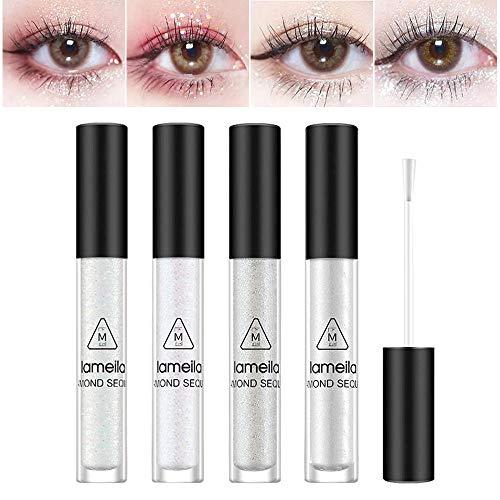 Glitter Eyeshadow, Lidschatten Glitzer, Glitter Waterproof Liquid Eyeshadow, Glitzer Flüssig...